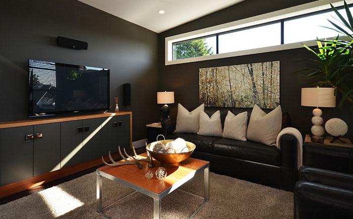 Гостиная в чёрных тонах от Dawna Jones Design