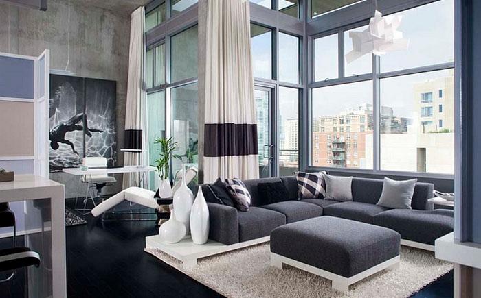 Стильная гостиная в мужском стиле