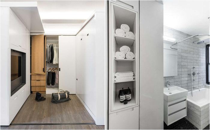 Нашлось место и для поноценной ванной комнаты, и для гардеробной