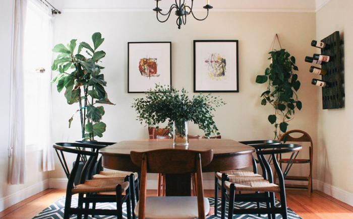 Интерьер в стиле бохо с растениями