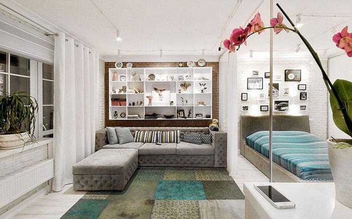 Нестандартный подход к оформлению однокомнатной квартиры