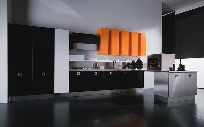 Чёрно-оранжевая кухня в минималистском стиле