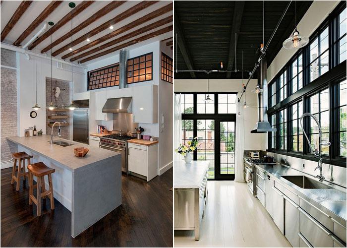 Светильники в индустриальном стиле на кухне