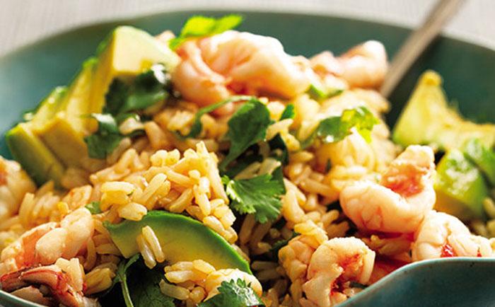Бурый рис с морепродуктами