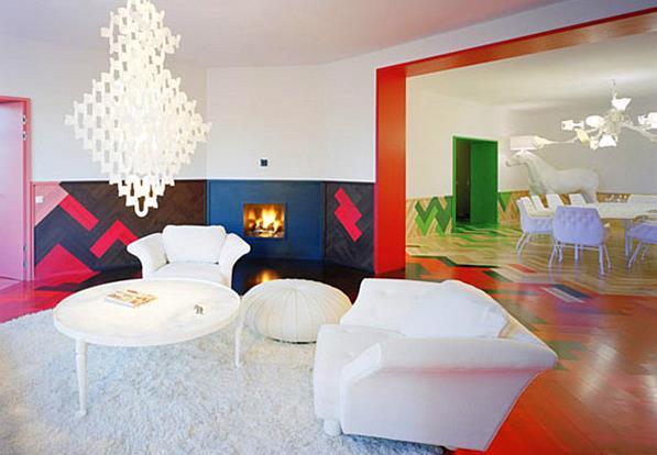 Радужный пол в стокгольмской квартире