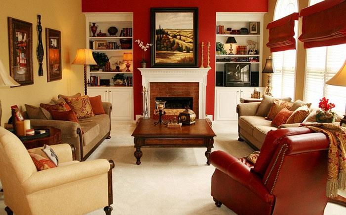 Магия красного цвета в интерьере гостиной