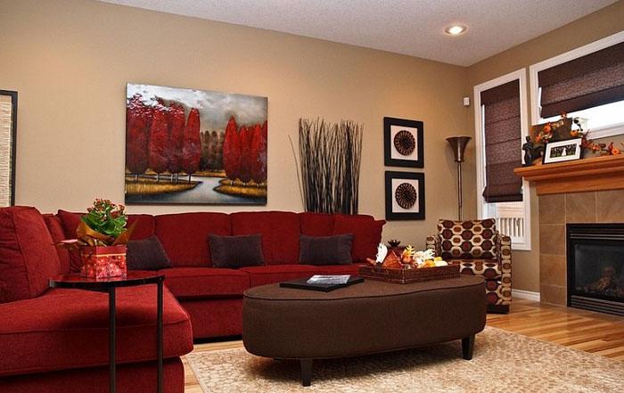 Дизайн зала в красный цвет
