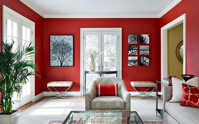 Красно-белая гостиная от Clean Design