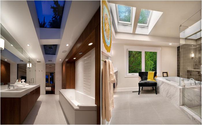 Стильные ванные комнаты с потолочными окнами