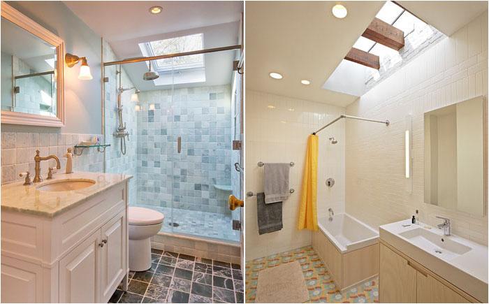 Маленькие ванные с потолочными окнами