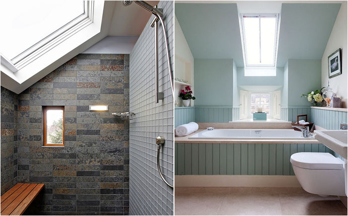 Стильные ванные комнаты с потолочными оканми
