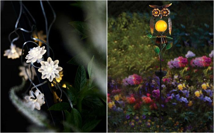 Солнечные украшения в ночном саду