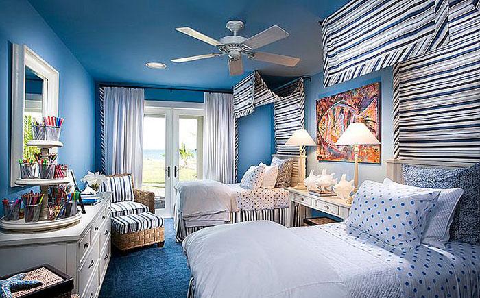Спальня в синих тонах от Wissmach Architects