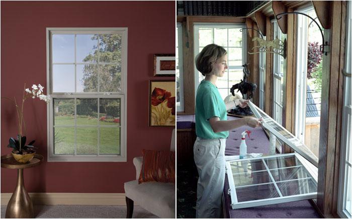 Окно с одной и двумя подъёмно-опускными створками