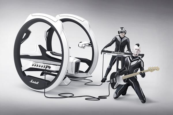 Концепт дицикла Marshall Dicycle со встроенным гитарным усилителем