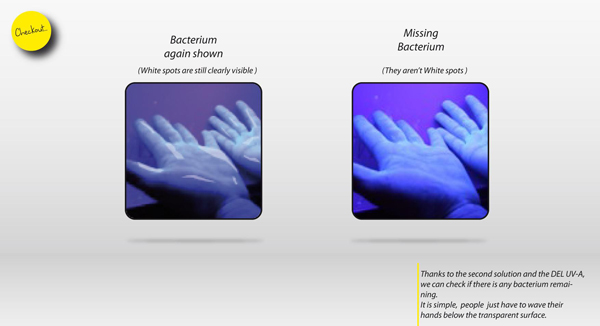Гаджет оснащен UV-сканером для проверки чистоты рук