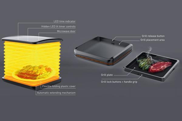 Поднос Micro оснащен ребристым покрытием для жарки продуктов на гриле