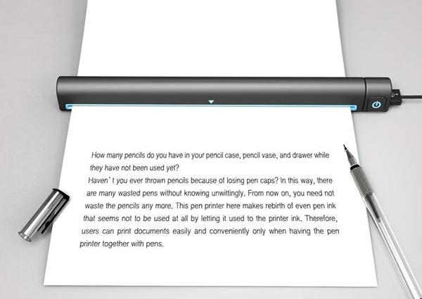 Концепт принтера Pen Printer, использующего старые гелевые ручки