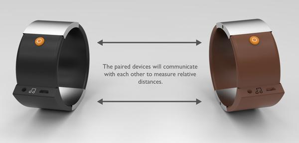 Два браслета Soundbrace сообщаются друг с другом, контролируя дистанцию