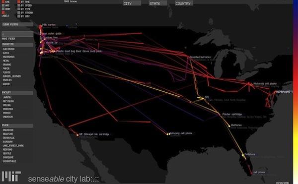 Карта движения отходов –2 недели (MIT Senseable City Lab