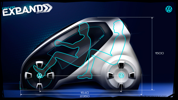 Volkswagen Expand вмещает двух человек с их багажом