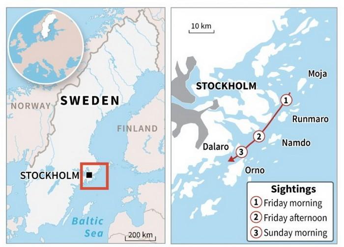 Карта поисков российской субмарины у берегов Швеции
