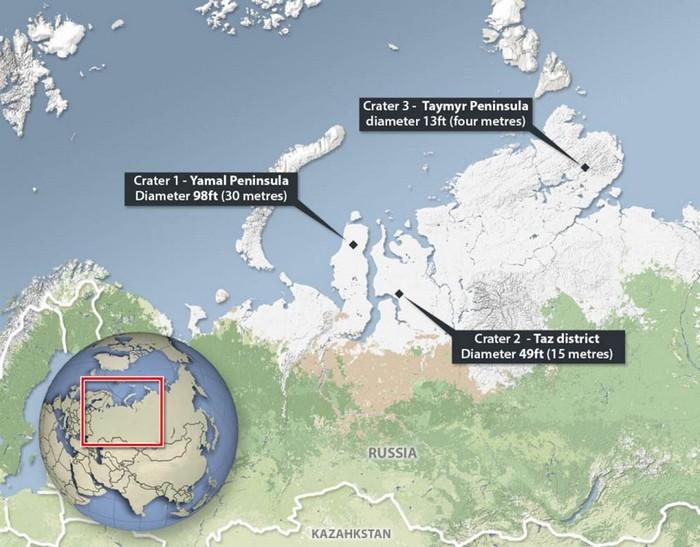 Карта кратеров на севере Сибири