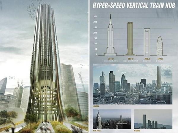 Hyper-Speed Vertical Train Hub – небоскреб-вокзал для поездов. Источник фото: eVolo 2014