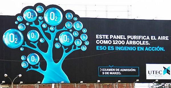 Рекламный щит от UTEC в Лиме, который заменит 1200 деревьев