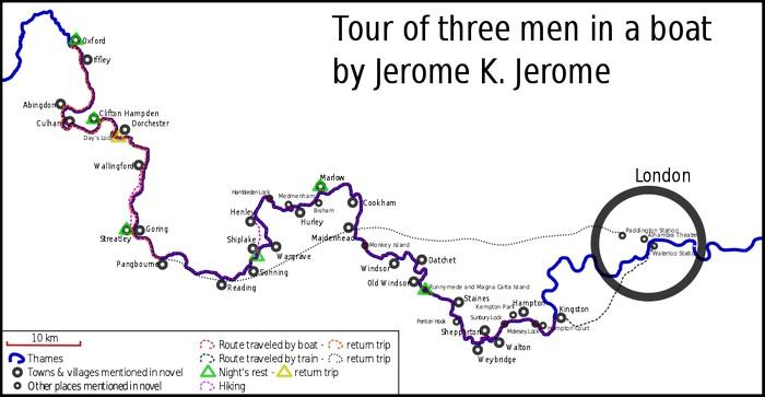 Карта путешествия из книги Трое в лодке, не считая собаки