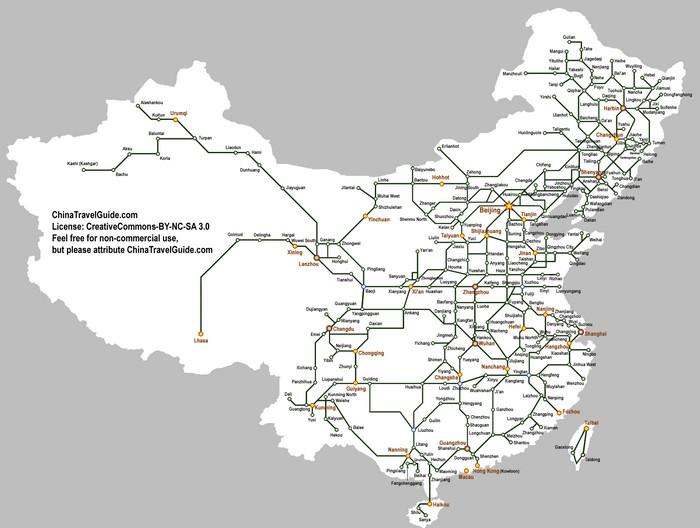 Карта высокоскоростных железнодорожный линий в Китайской Народной Республике