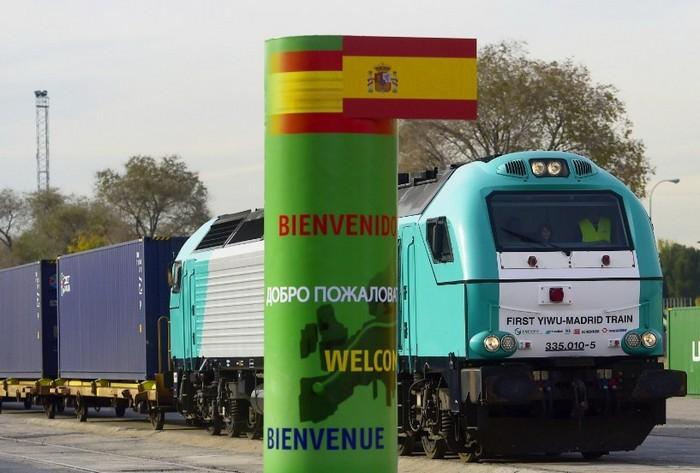Грузовой поезд из Китая в Испанию