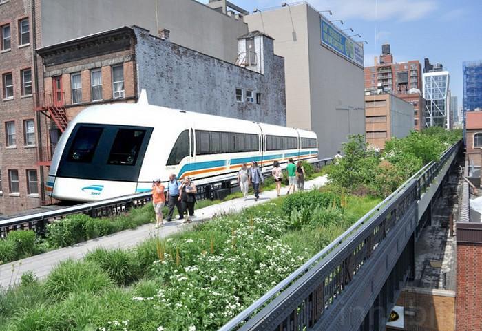 Миниатюрный трамвай для парка High Line Park в Нью-Йорке