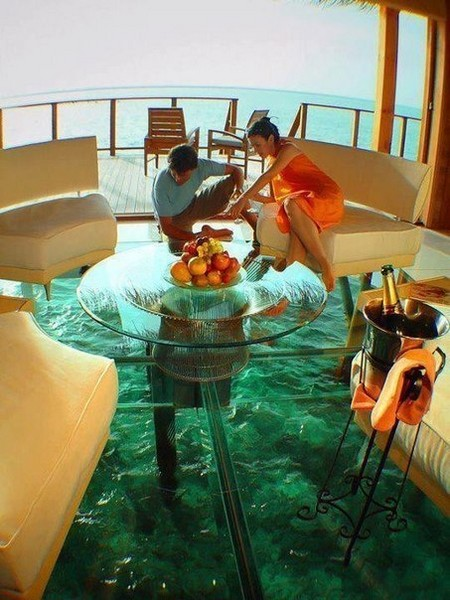 Стеклянный пол в отеле Water Villa