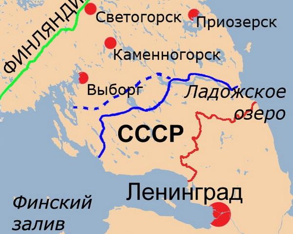 Линия Маннергейма на карте. Красная и зеленая линия - граница до и после Зимней войны. Синия линия - финские оборонительные заграждения. Источник фото: Википедия