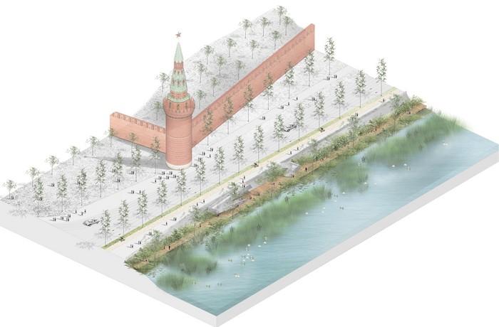 Зеленый островок на московской набережной возле Кремля