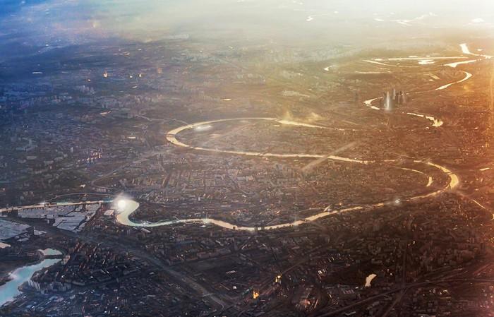 Вид на Москву-реку в высоты птичьего полета