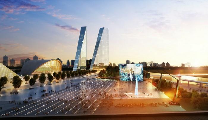 Набережная Москвы-реки в районе Мневники возле будущего комплекса парламентских зданий