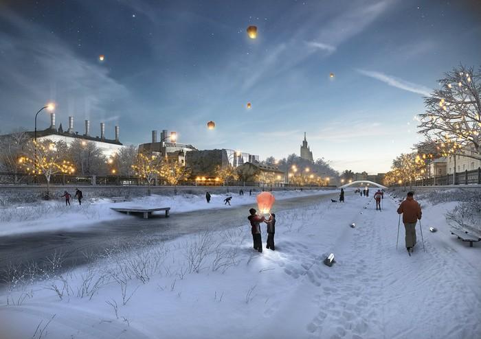 Прогулочная зона вдоль Москвы-реки зимой