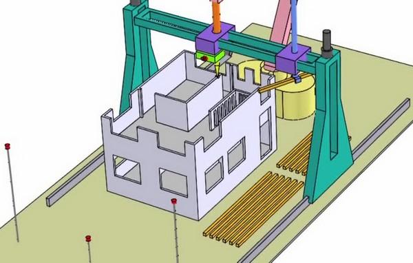3D-принтер от WinSun Decoration Design Engineering Co., который умеет печатать дома