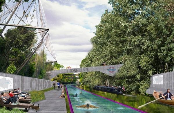 Муниципальный бассейн в старом канале в Лондоне. Источник фото: cutedecision.com