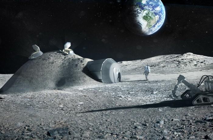 Предполагаемый вид Российской постоянной обитаемой базы на Луне