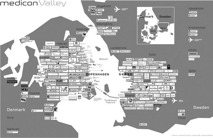 Примерная карта технопарка Medicon Valley
