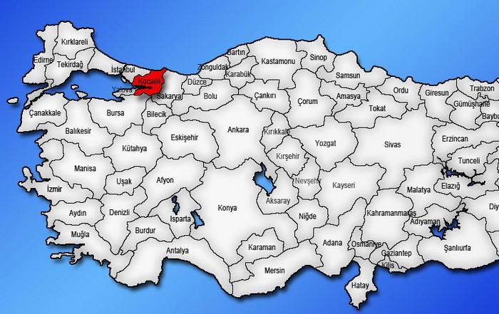 Расположение ила Коджаэли на карте Турции