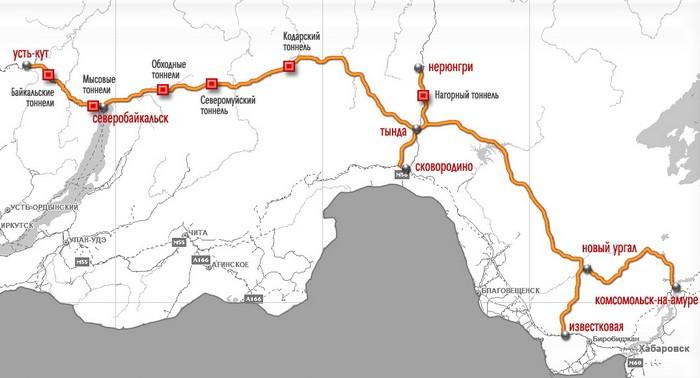 Карта Байкало-Амурской магистрали