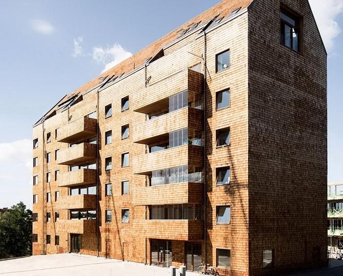 Жилая деревянная многоэтажка в Стокгольме