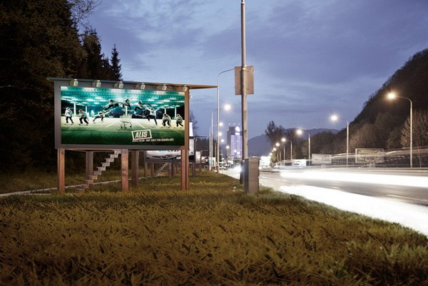 Жилище для бездомных в рекламных билбордах