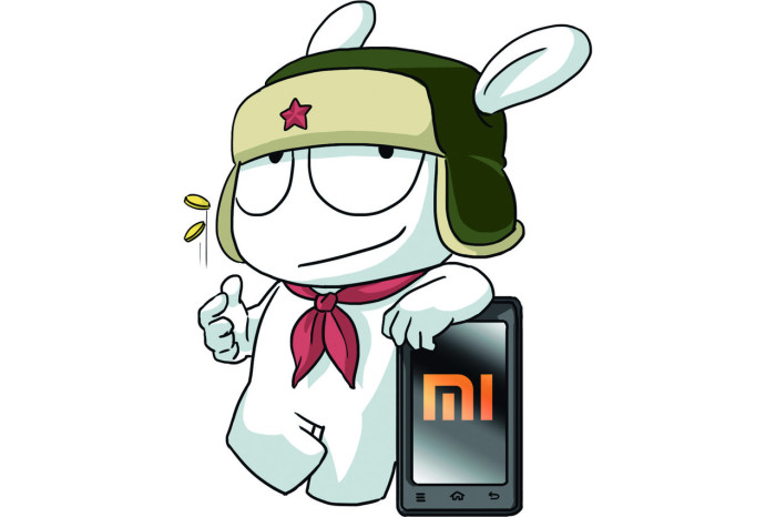 Белый заяц в ушанке - талисман компании Xiaomi