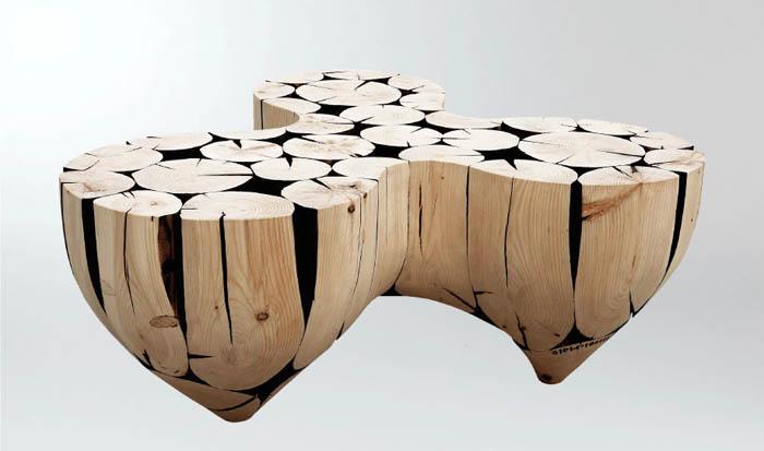 Деревянная мебель необычной формы.