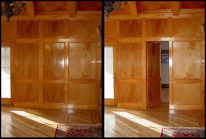 дверь в стене за деревянными панелями.